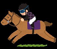 馬に乗るジョッキーのイラスト(黒)