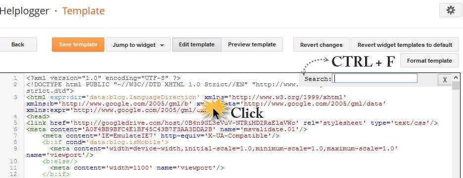 blogger search box, CTRL + F
