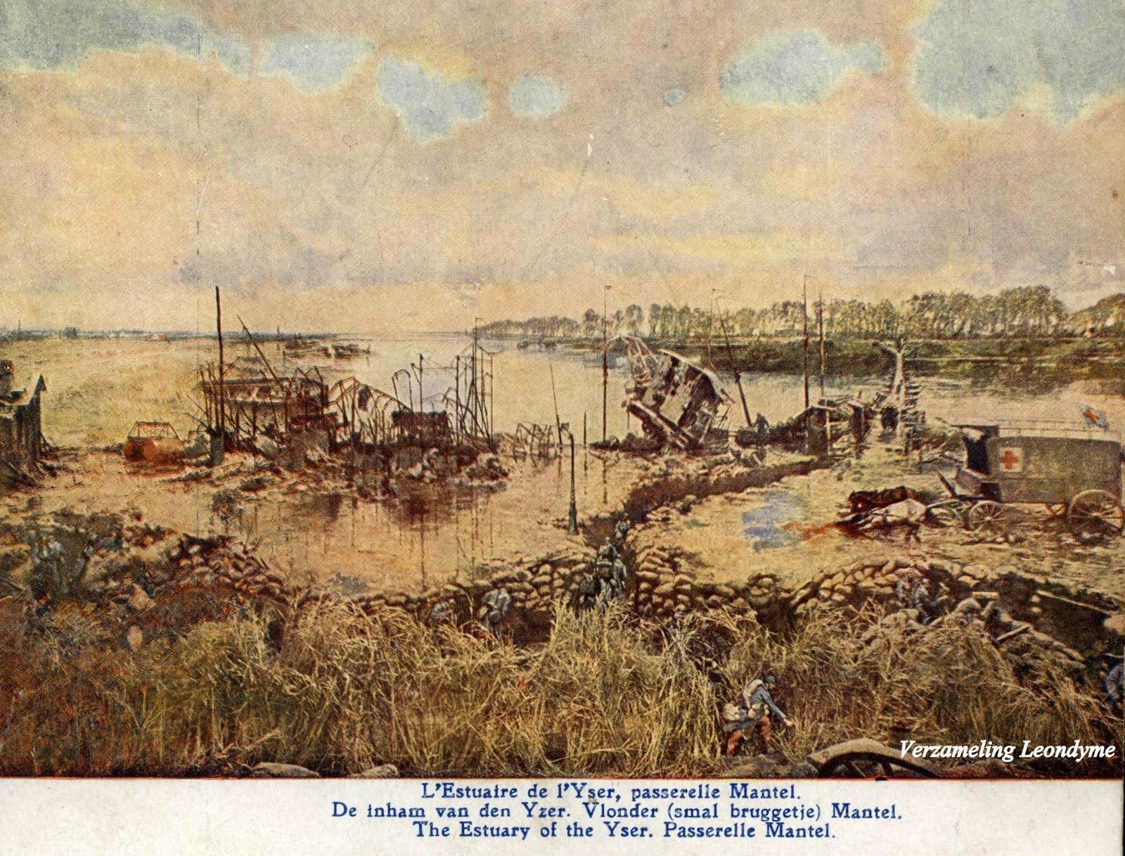 Slag van IJzer door Alfred Bastien. Inham van de IJzer met smal bruggetje. Verzameling Leondyme