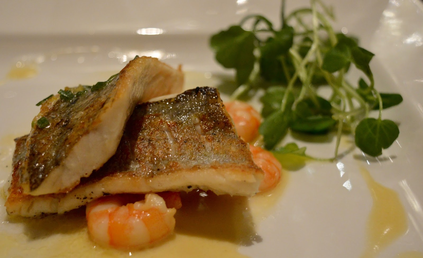 The Brasserie at the Grand Hotel, Tynemouth | New Tasting Menu review - pan friend seabass and prawns