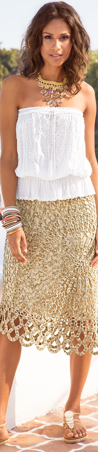 Boston Proper Daring Crochet Skirt