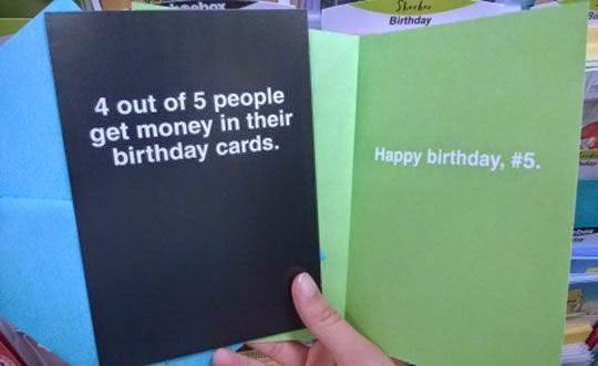 Funny No Money Birthday Card Joke Picture