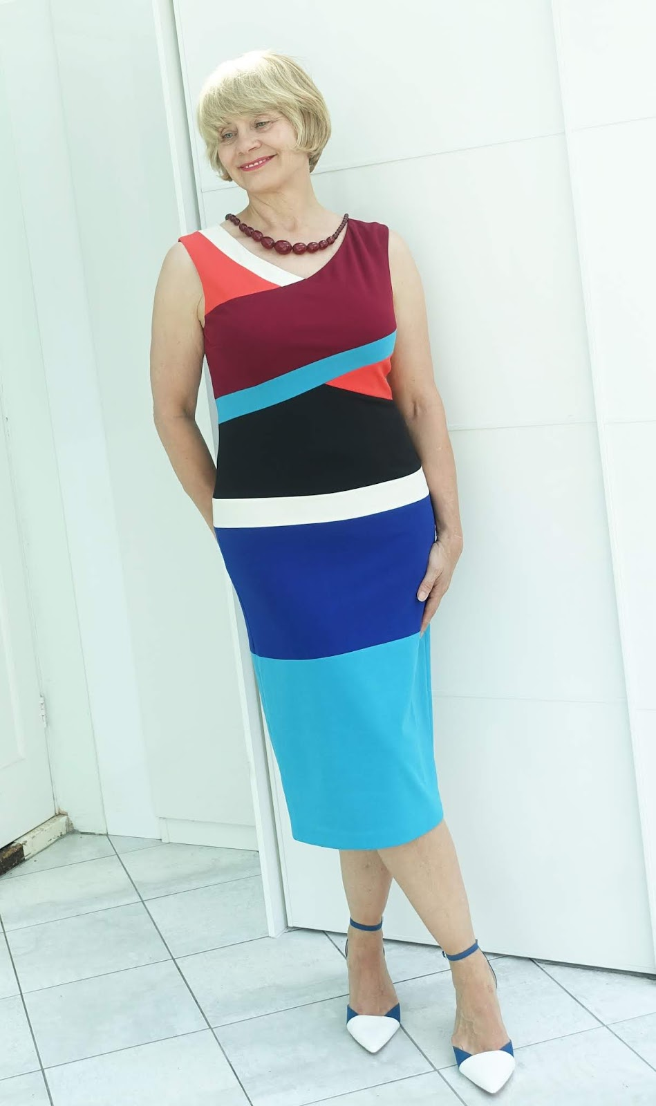 Anthropologie colour block sleeveless dress worn by over-45s blogger Gail Hanlon from Is This Mutton?