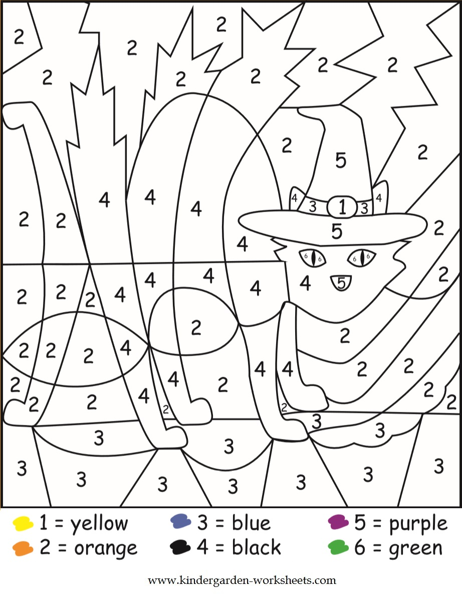 Kindergarten Worksheets: Halloween Color by Numbers Worksheets | number coloring worksheets for kindergarten