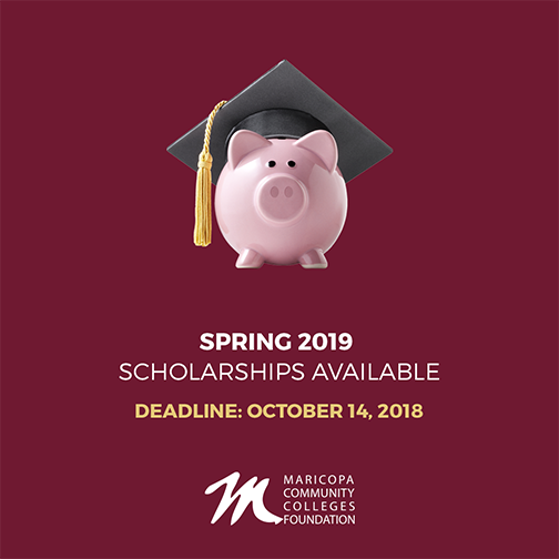 Poster featuring a pink piggy bank wearing a graduation cap.  Text: Spring 2019 scholarships available.  Deadline Oct. 14, 2018