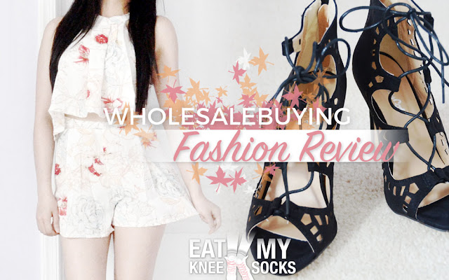 Today I'm reviewing my latest package from Wholesalebuying, including a 2-piece floral crop top and shorts set and a pair of black lace-up heels. - Eat My Knee Socks / Mimchikimchi