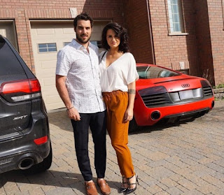 Mathieu Perreault with his wife Jennilie Ouellet