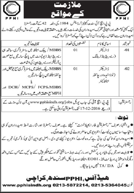 PPHI Sindh for Director Research and Training Karachi Jobs