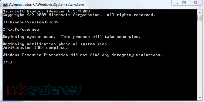Mengatasi Windows Explores Has Stoped Working melalui cmd (command prompt) 4