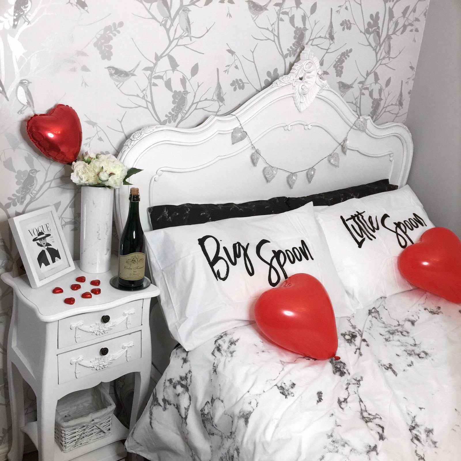 LIFESTYLE | Valentines Bedroom Tour featuring big spoon little spoon pillow cases & primark homewear.
