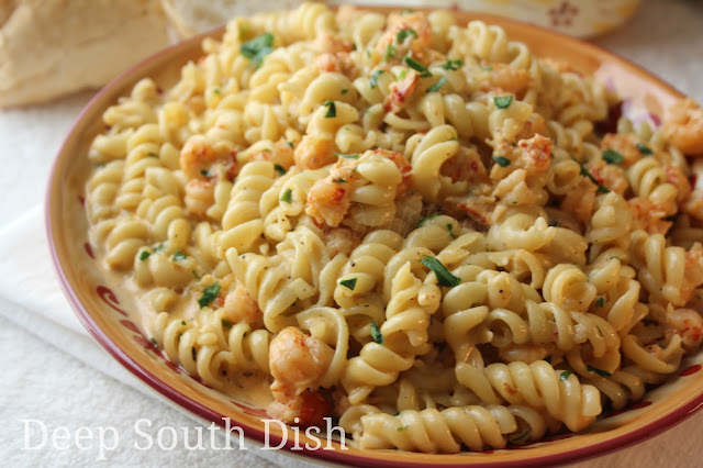 Spicy crawfish in a rich and creamy butter and cream sauce, doused generously with Cajun seasoning, and tossed with rotini pasta.