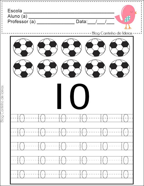 numeros pontilhados de 1 a10 para imprimir