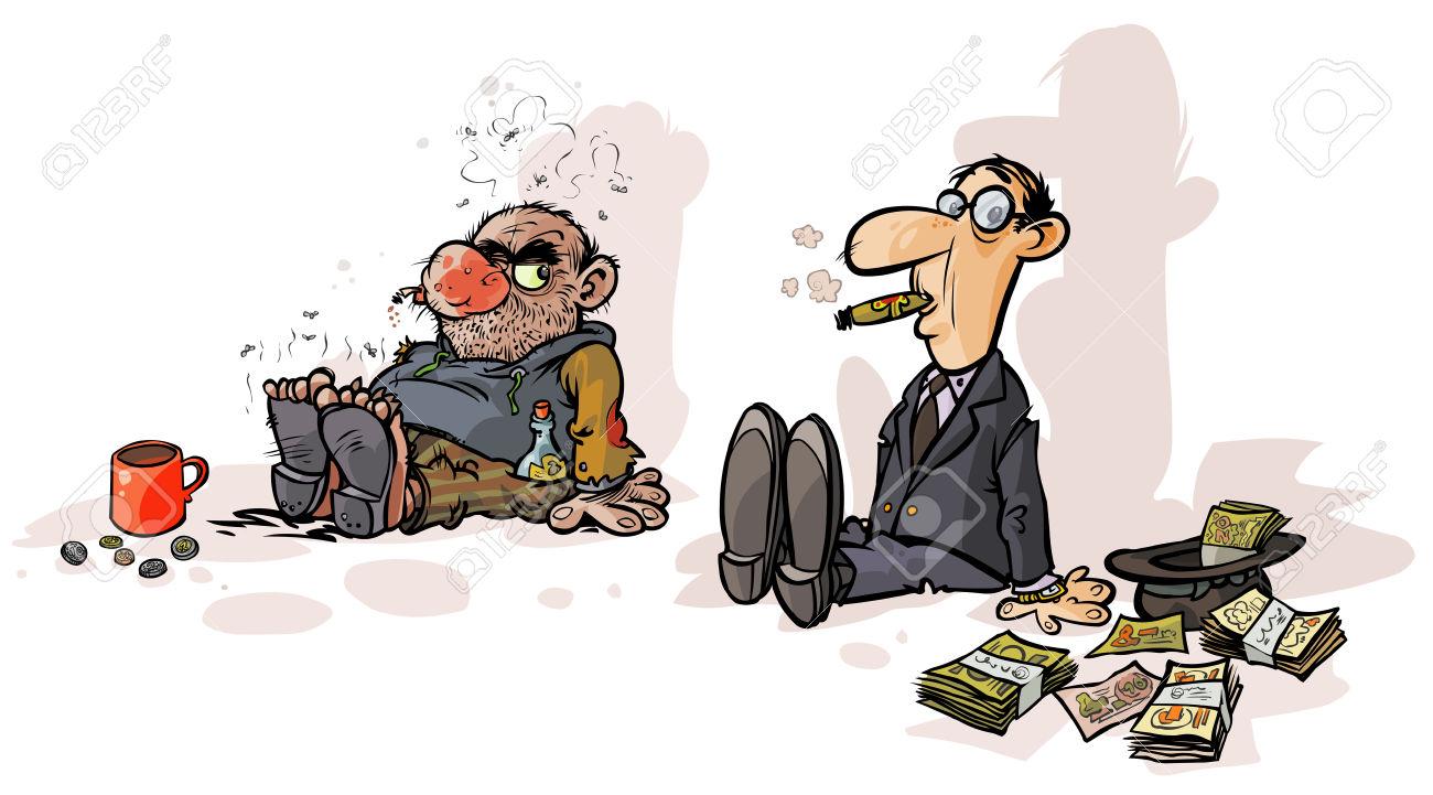 Personaje De Dibujos Animados De Ricos Y De Pobres