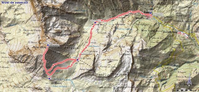 Mapa ruta Tuiza de Arriba, Peña Ubiña por la normal SE