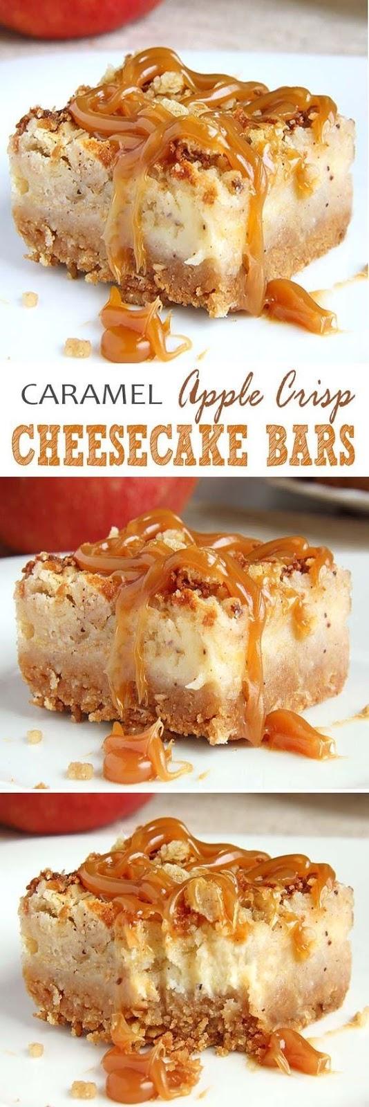 Caramel Apple Crisp Cheesecake Bars