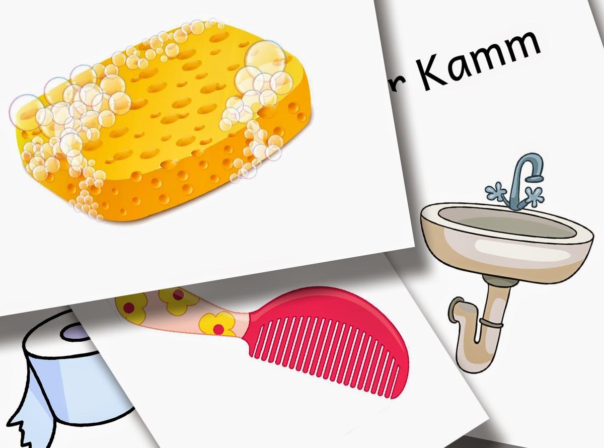 Bildkarten Badezimmer - DaZ Material für die Sprachförderung in der Grundschule