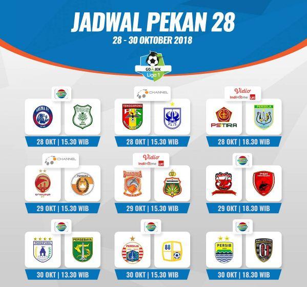 Jadwal Liga 1 2018 Pekan 28