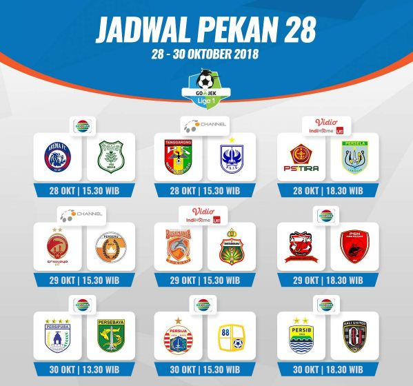 Jadwal Liga 1 2018 Pekan 28 - Siaran Langsung Indosiar & OChannel