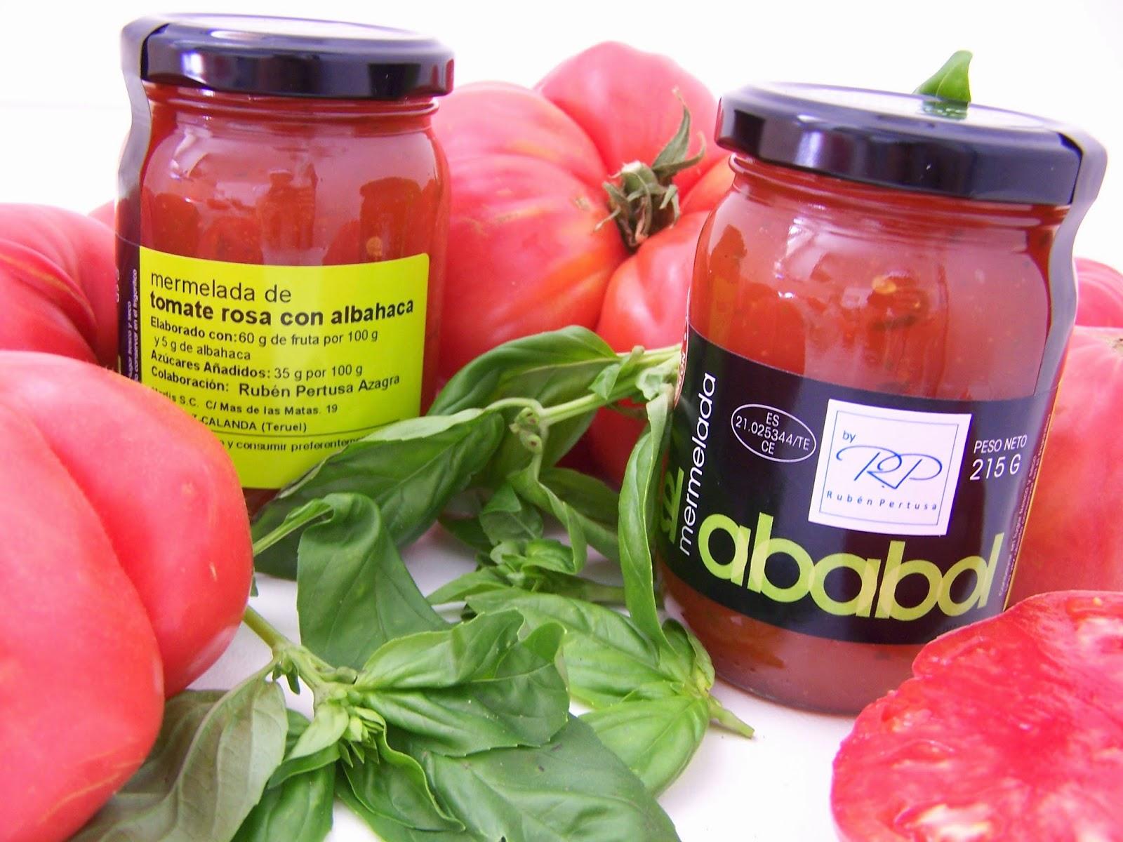 Mermelada el ababol de tomate rosa con albahaca