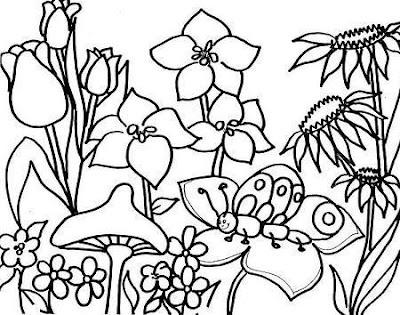 Dibujo del Día de la Primavera de flores para colorear pintar