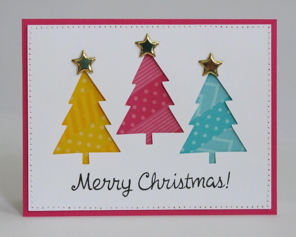Colorful Washi Tape Christmas Tree Card by Mendi Yoshikawa
