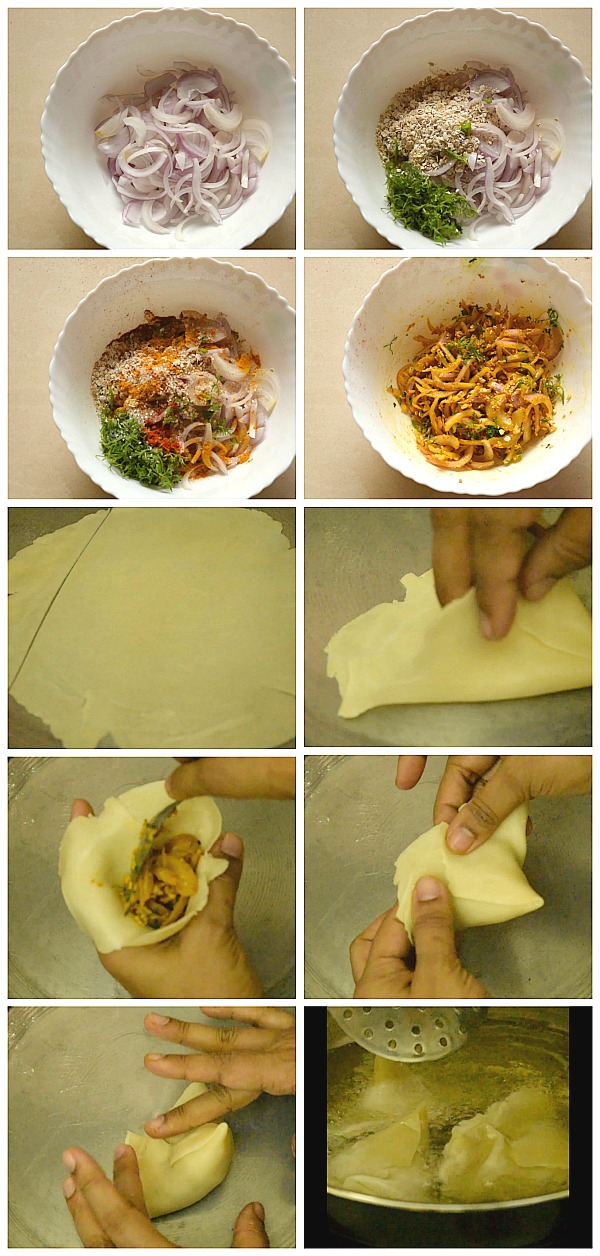 Step by Step pictures of how to make Onion Samosa
