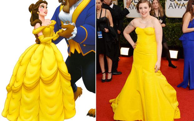 Lena Dunham vestido amarelo