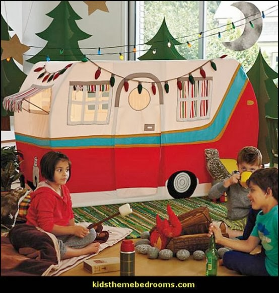 Happy Camper little boys outdoor theme bedroom - tree wall decal - dog wall decal stickers - treehouse bed - girls treehouse theme bedrooms - camping room decor - camping theme room