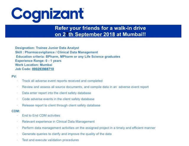 Cognizant  Walk-In Drive For B.Pharm, M.Pharm, Any Life Science Fresher & Experienced Graduates at 27 Sep