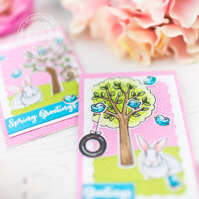 Sunny Studio Stamps: Seasonal Trees Frilly Frames A Bird's Life Spring Greetings Fancy Frames Spring Themed Cards by Franci Vignoli and Mona Toth