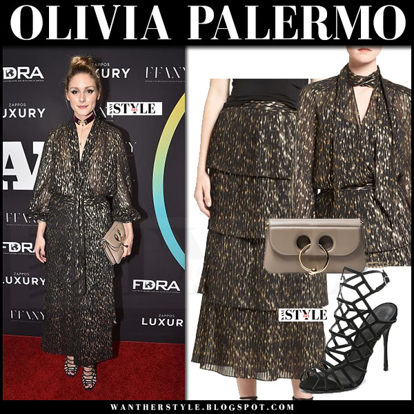 Olivia Palermo in black gold print blouse and matching maxi skirt chelsea28 with velvet chocker baublebar what she wore