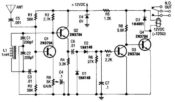 simple relay output proximity sensor circuit diagram