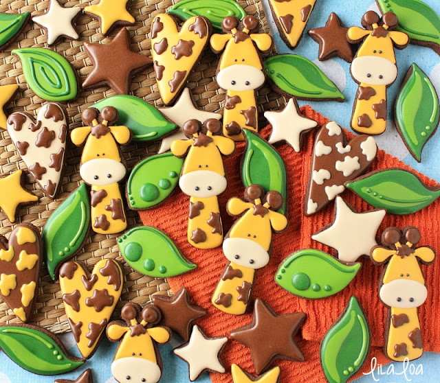 Decorated Giraffe Sugar Cookies - jungle cookies