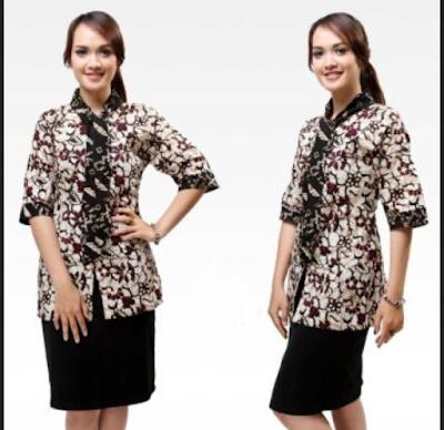model baju batik wanita kombinasi rok polos