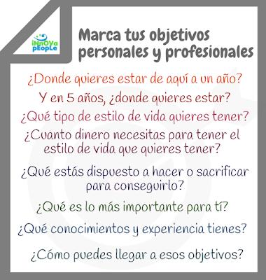 Marca tus objetivos personales y profesionales