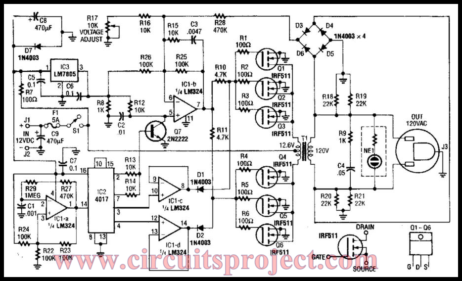 Simple 40W 120Vac Inverter Circuit Diagram