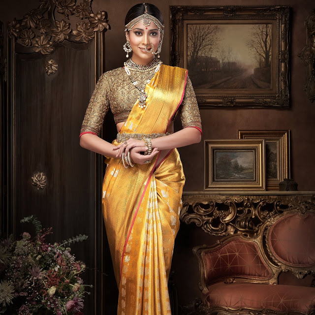 Shriya Saran In Golden Saree Latest Photoshoot Stills