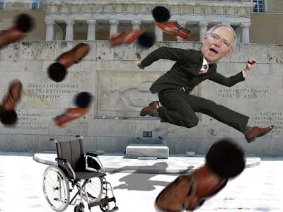 Lustige Politiker Wolfgang Schäuble wird mit Schuhen beworfen