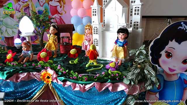 Mesa decorada de aniversário Princesas Baby Disney - Festa infantil