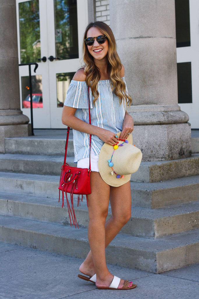 31309f235d323 4th of July Style  Off the Shoulder Stripe Top - Twenties Girl Style