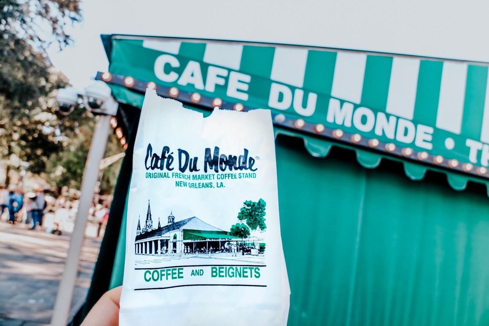 To go bag of beignets at Cafe du Monde in New Orleans