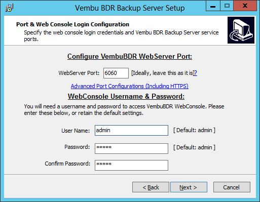 Vembu: BDR instalación sobre Windows