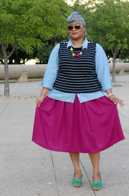 69e39bb9ee THAT IS JUST WHAT I DID STARTING WITH THIS FUCHSIA SKIRT! WITH ME THERE ARE  NO RULES WHEN IT COMES TO PUTTING TOGETHER AN OUTFIT.