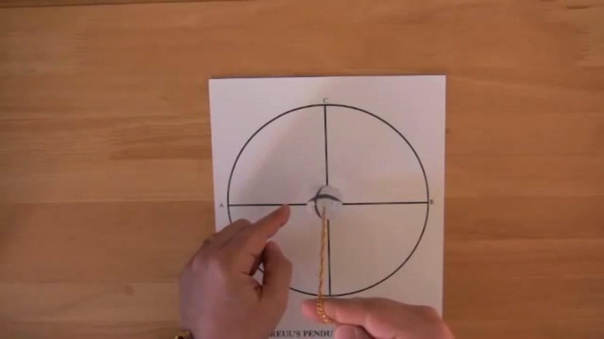 Un main tenant un pendule au-dessus du schéma pour consulter l'oracle oui non