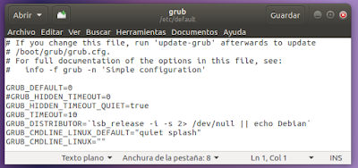 archivo /etc/default/grub