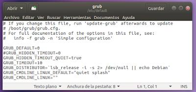 archivo /etc/default/grub