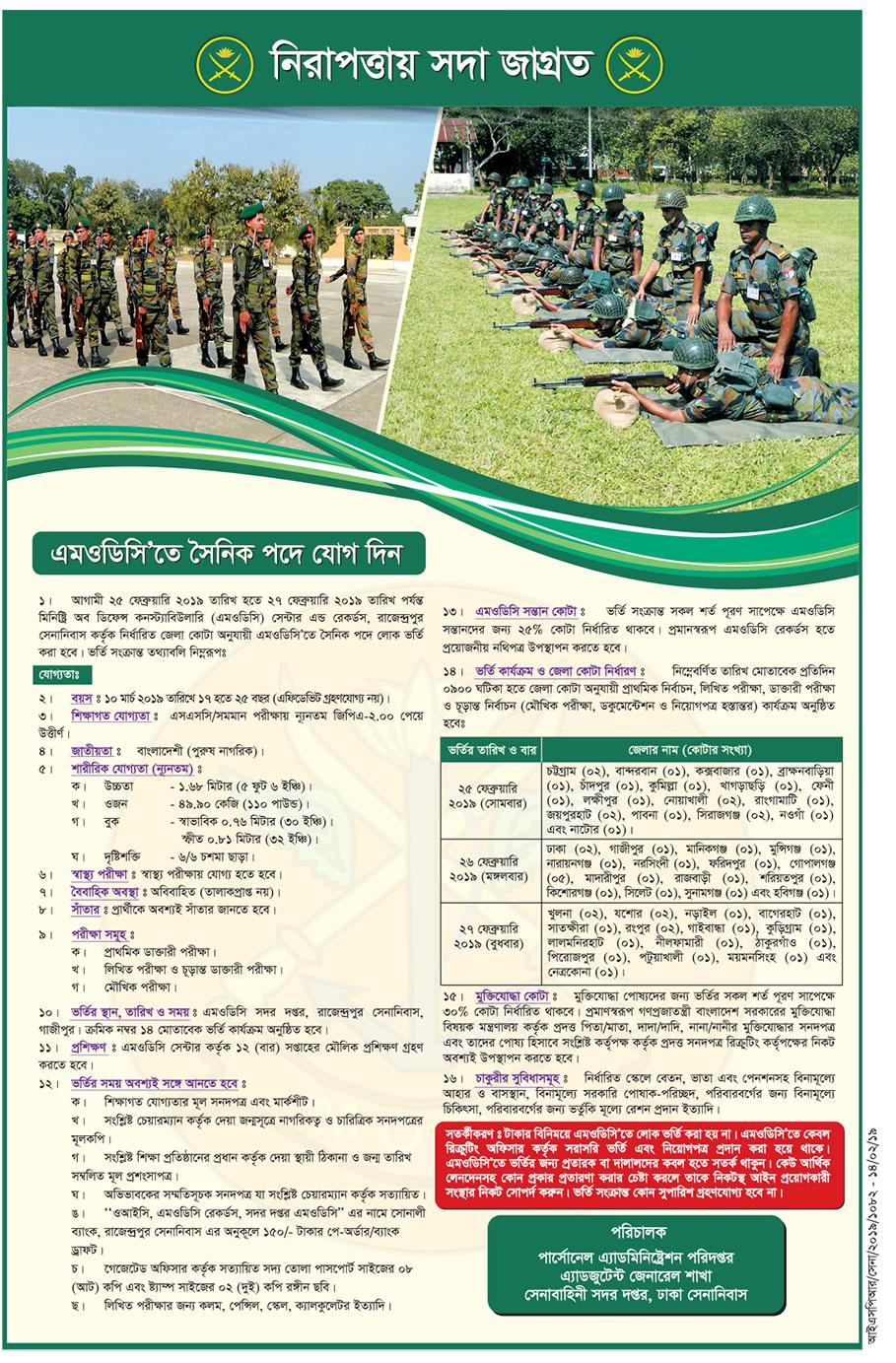 Bangladesh Army MODC Sainik Recruitment Circular 2019