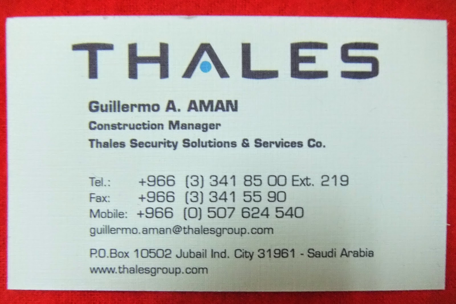 GUILLERMO ARGAME AMAN: Thales Security Solutions & Services Company