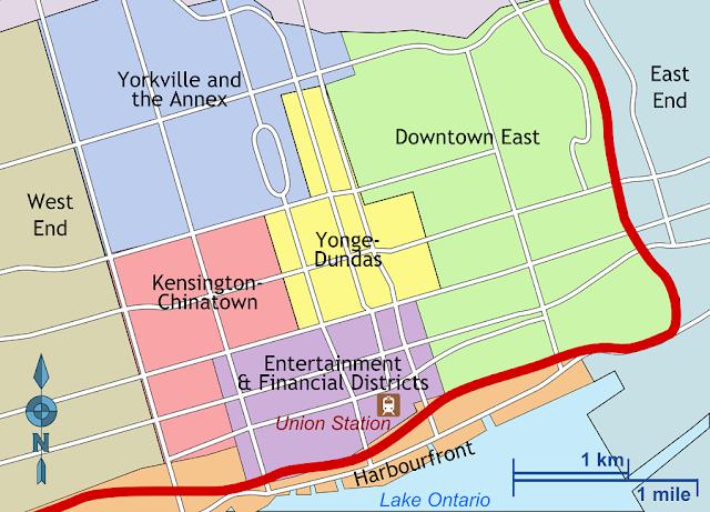 Onde ficar em Toronto - Mapa Downtown