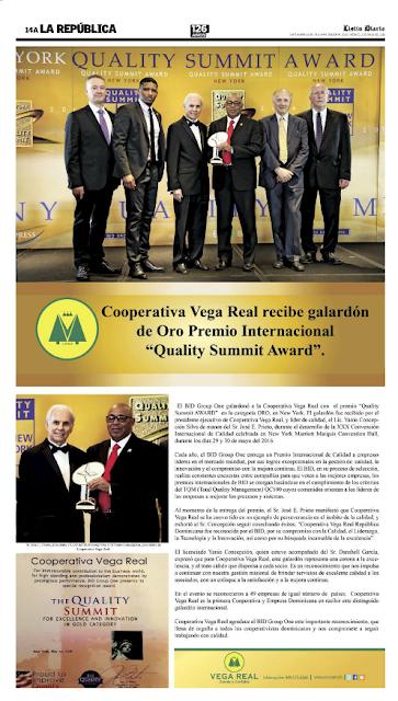 "Cooperativa Vega Real Recibe Galardón de Oro Premio Internacional ""Quality Summit Award"""